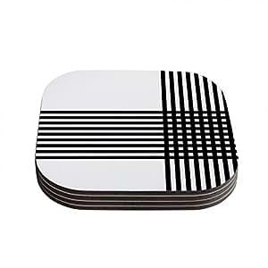 "Kess InHouse Trebam ""Krizanje"" Minimal Lines Coasters, 4 by 4-Inch, Black/White, Set of 4"