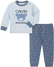 Calvin Klein 男婴 2 件裤子套装 Powder Blue/Azure 3-6 Months