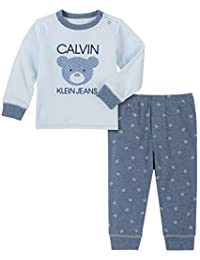 Calvin Klein 男婴 2 件裤子套装 Powder Blue/Azure 3-6 Months