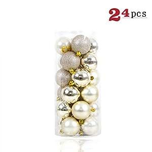 GLBUY 24 件/套圣诞装饰品 3/4 / 6 厘米 圣诞树球泡 圣诞家居派对多彩婚礼装饰品 Champage 8cm