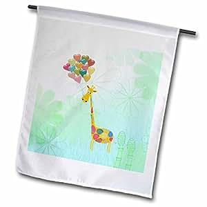 BEVERLY TURNER 情人节设计–长颈鹿带心形气球上的花朵,绿色,橙色,蓝色,黄色–旗帜 12 x 18 inch Garden Flag
