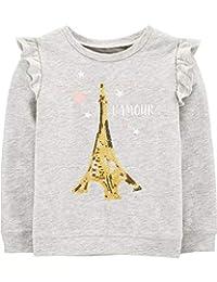 OshKosh B'Gosh 女孩全息金色闪亮亮亮片巴黎埃菲尔铁塔L'Amour长袖套头卫衣带肩部荷叶边灰色,24 个月