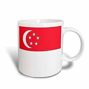 3dRose 旗帜 - 新加坡国旗 - 马克杯 白色 15盎司 mug_31577_2