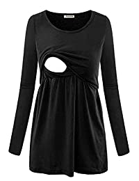 Larenba 女式长袖孕妇护理上衣上装哺乳服装 黑色 XX-Large