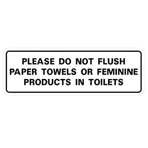 "Please Do Not Flush 纸巾或女性产品位于厕所门/墙牌 3"" x 9"" - Large 白色"