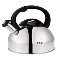 T-fal C76220 Specialty Stainless Steel Whistling Coffee and Tea Kettle, 3 quart, Silver