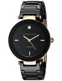 Anne Klein Women's AK/1018RGBK Diamond-Accented Watch with Black Ceramic Bracelet