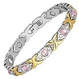 Hottime 女式时尚磁疗手镯水晶宝石*能量首饰礼物送给*和腕管道 银色和金色