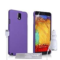 Yousave 配件 sa-ea02-z707 °C 混合外壳 带车载充电器 适用于三星 Galaxy Note 3 紫色