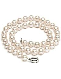 PearlAge南珠世家9.0-10.0mm白色圆形淡水珍珠项链高光泽镀金925银元宝扣附证书支持复检