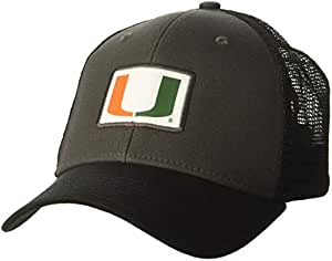 Ouray Sportswear NCAA 迈阿密飓风男式柔软网眼边沿帽,深灰色/黑色/黑色