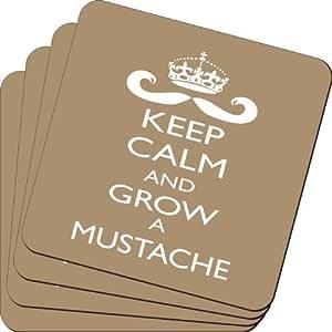 Rikki Knight Keep Calm and Grow A Mustache 棕色设计柔软方形啤*杯垫(2 件套),多色