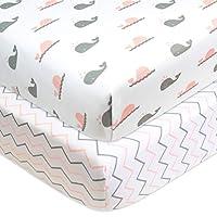 American Baby Company 婴儿床和幼儿套装,床垫套,床罩,保暖毯子 Pink Whale/Pink Zigzag 2片装