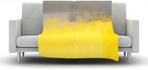 "Kess InHouse CarolLynn Tice ""A Simple Abstract""黄色灰色羊毛毯,101.6 x 76.2 厘米"