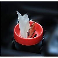 AKAHA 多功能迷你小型汽车垃圾桶收纳盒硬币纸巾盒 红色 Garbage Cans-red