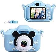 儿童相机,数码自拍摄像机 20MP 1080P 高清视频录像机 IPS 屏幕幼儿卡通玩具摄像机,带 32GB SD 卡,儿童生日礼物适合 3 4 5 6 7 8 9 10 岁男孩女孩蓝色