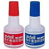 Deli 得力 9874 40ml 快干清洁印泥油(红色 蓝色) 蓝色