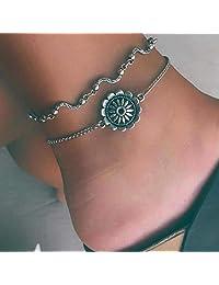 Aukmla 复古分层脚链手链银花脚链手链沙滩脚链首饰适合女士和女孩(2件装)脚链-005
