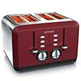 Arendo - 自动烤面包机 4 片 | 不锈钢外壳 | *多四个三明治和吐司切片 | 烘烤级别 1-6 | 预热和解冻功能 | 面包盘 | GS 认证 | 红色