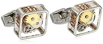 """Tateossian 男式""""机械""""镀金银铑齿轮方形袖扣"""