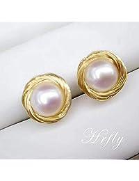 Hrfly风下 马来西亚品牌 天然珍珠耳钉 手工烧线 简约气质款 强光无暇(珍珠9-10mm)