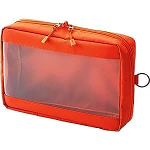 Lihit lab. Clear Box 收纳袋 本体サイズ:250x180x60mm A5 橙色