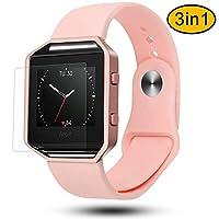 """适用于 Fitbit blaze 戒指, greatgo 软硅胶替换腕带,黑色框架和屏幕保护3合1适用于 Fitbit blaze 智能健身手表 Silicone Pink S(5.7""""-7.5"""")"""