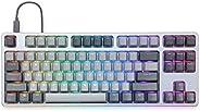 Drop CTRL 高调机械键盘 — 无键式 TKL (87 键) 游戏键盘,热插拔开关,可编程,背光 RGB LED,USB-C,双击 PBT ,铝(灰色,凯华速度银色)