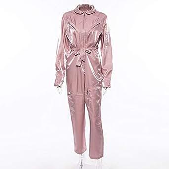 欧美超模名媛同款时尚套装女秋冬新款洋气俏皮宽松显瘦百搭连体裤粉红色 M