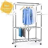 HOUSE DAY 便携式服装衣架 不锈钢滚轴 架子 可折叠 衣架 可扩展衣橱整理架