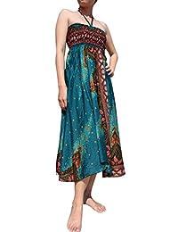 RaanPahMuang 半开襟连衣裙露背上衣 印花 葡萄* 混合艺术品