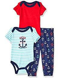 Quiltex 男童幼儿 Captain Adorable 3 件套 Turn Me Around 裤子套装