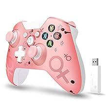 [2020 *新版本] Xbox One 無線控制器,W&O 無線 PC 游戲手柄,帶 2.4GHZ 無線適配器,兼容 Xbox One/One S/One X/P3 主機/Windows 7/8/10(粉色)