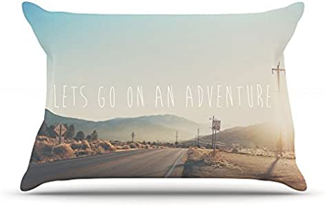 "Kess InHouse Laura Evans ""Let's Go On An Adventure"" Brown Blue Pillowcase, 30 by 20-Inch"