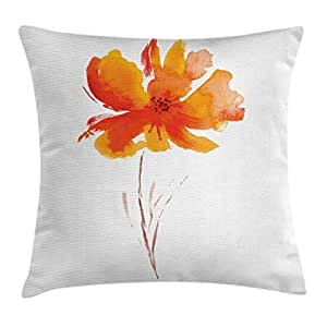 Landscape Throw Pillow Cushion Cover by Ambesonne, Single Poppy Flower on Plain Clear Background Nature Inspired Romantic Art, Decorative Square Accent Pillow Case, 24 X 24 Inches, White Orange