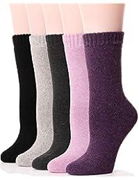 女式羊毛袜 毛绒柔软驾驶舱保暖加厚柔软保暖冬季袜 5 双