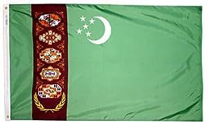 Annin Flagmakers 尼龙太阳能防护帽 纽约热罗 土库曼斯坦旗帜 3x5' 974081