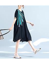 连衣裙夏装宽松大码印花冰丝麻显瘦不规则下摆女装短袖连衣裙LK-17829