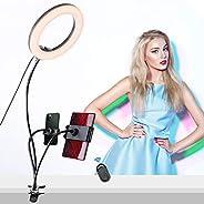 8 英寸自拍环灯带手机支架和平板电脑支架 LED 可调光相机铃 3 种灯光模式 10 级亮度适用于实时流化妆 YouTube 视频摄影