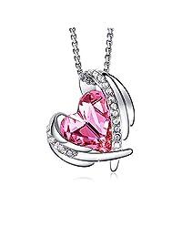 EleShow 爱心吊坠项链诞生石首饰礼物送给女士妻子女朋友用施华洛世奇水晶制成 玫瑰红