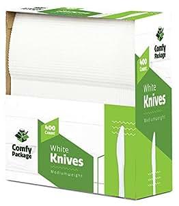 400 中等重量白色一次性塑料茶匙 白色 400 Knives