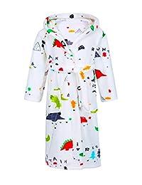 男童女童睡袍,幼儿儿童连帽羊毛浴袍睡衣睡衣,送给女孩男孩(2岁-16岁)