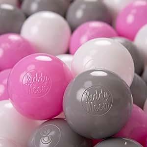 KiddyMoon 儿童球 适用于球 婴儿 塑料球 游戏球 6 厘米 欧盟制造 Baby, Kinder 100 Bälle/6cm Grau/Weiß/Hellpink