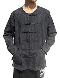Raan Pah Muang RaanPahMuang 品牌条纹棉质衬衫中国领和纽扣长袖