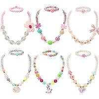 PinkSheep 串珠项链和串珠手链儿童,6件套,独角兽项链花朵项链贝壳项链,小女孩首饰套装,女孩礼品袋