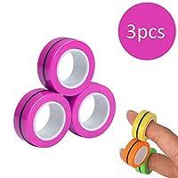 手指磁性环玩具 - 磁铁手链环耐用解锁手指环魔术环道具工具减压器旋转成人玩具 紫色