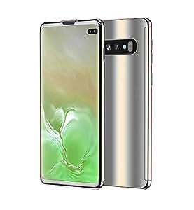 Galaxy S10 手机壳,超薄电镀 360 度全机身保护镜面手机壳带钢化玻璃屏幕硬质PC保护膜,适用于三星 Galaxy S10 银色