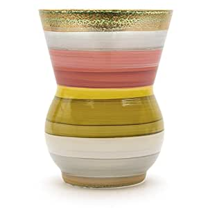 Angela 新款维也纳工厂玻璃花瓶,玻璃,黄色/红色,14 x 14 x 18 厘米