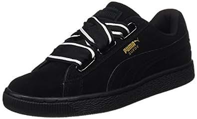 PUMA 彪马 女式 麂皮绒心形缎面低帮运动鞋 Black (Black-Black), 5 UK