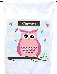"Rikki Knight""Carmen 姓名可爱粉色猫头鹰在树枝上印有个性名字的房子或花园旗帜,30.48 x 45.72 cm 旗帜尺寸带有 27.94 x 27.94 cm 的图像"